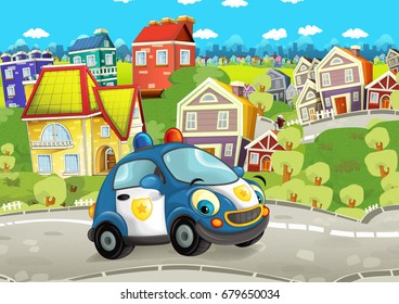 Cartoon police car smiling and driving through the city - illustration for children