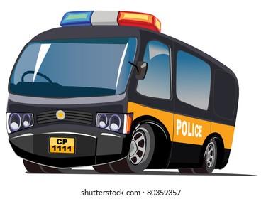 cartoon police van
