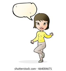 cartoon pretty woman waving with speech bubble