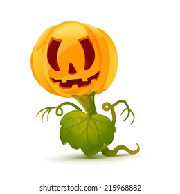 Cartoon pumpkin monster with leave and hands