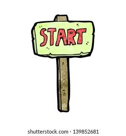 cartoon race start sign