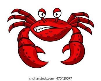 Cartoon red crab character with angry emotions  isolated on white