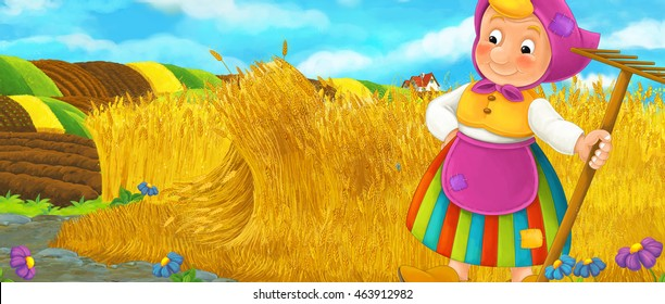 Cartoon rural scene with farmer woman resting during work on the field - illustration for children