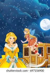 Cartoon scene for different fairy tales - young girl beautifully dressed going to some ball - illustration for children