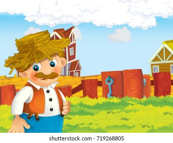 cartoon scene with happy man working on the farm - standing and smiling / illustration for children