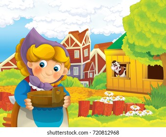 cartoon scene with happy woman working on the farm - standing and smiling near the village - cow is looking cheerful / illustration for children