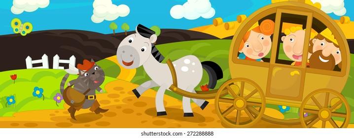 Cartoon scene - illustration for the children
