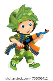 Cartoon scene with kids dressed as soldiers playing and having fun - illustration for children