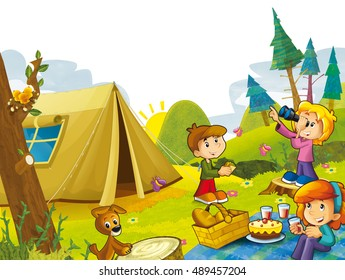 Cartoon scene with kids having fun in the mountains - illustration for children