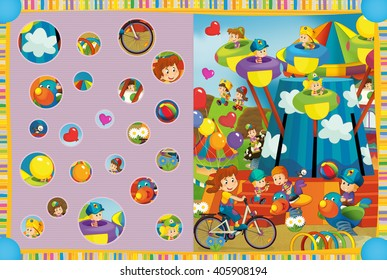 Cartoon scene of kids playing in the funfair - kids at playground - illustration for children