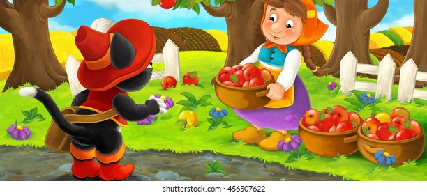Cartoon scene with noble cat traveler visiting farm woman in garden during beautiful day - illustration for children