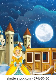 Cartoon scene with princess or queen - image for some fairy tale - beautiful castle and carriage in the background - illustration for children