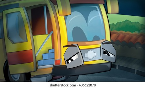 Cartoon scene of a scared and sleepy truck on the street during night - illustration for children