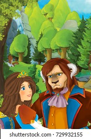Cartoon scene with some beautiful girl and some creature prince in forest - illustration for children