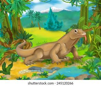 Cartoon scene - wild Asia animals - waran - illustration for the children