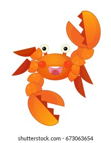 cartoon sea crab standing and smiling - isolated illustration for children