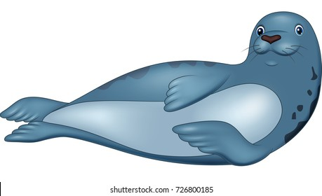 Cartoon seal isolated on white background