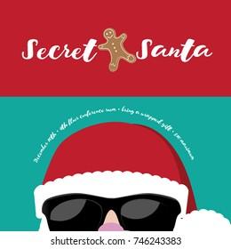 Cartoon Secret Santa Christmas party background template.