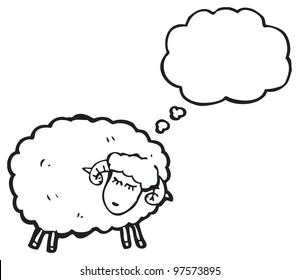 cartoon sheep with thought bubble