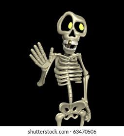 A cartoon skeleton