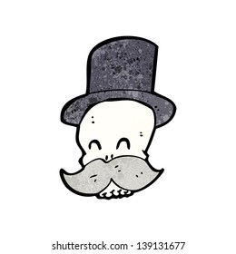 cartoon skull with mustache