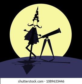 Cartoon stargazer with telescope and full moon illustration. Funny astronomer with telescope and full moon on the background illustration