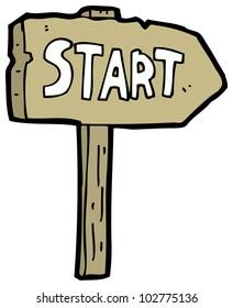 cartoon start sign