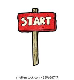 cartoon start sign,