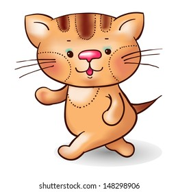 Cartoon striped cat.