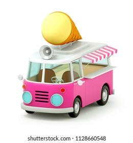 cartoon style Ice cream truck in 3d graphics. 3d illustration