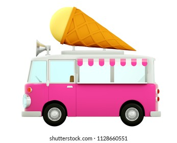 cartoon style Ice cream truck, side view, in 3d graphics. 3d illustration