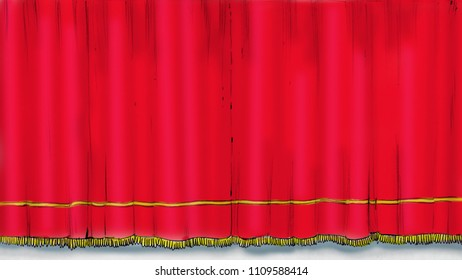 cartoon style Illustration of red theater curtains