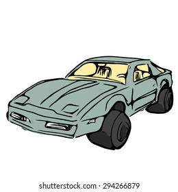 Cartoon style line and color sketch illustration of retro style sports car isolated on white background.