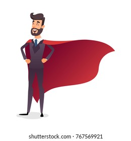 Cartoon superhero standing with cape waving in the wind. Successful happy hero businessman. Concept of success, leadership and victory in business. Young entrepreneur in a superman s cloak.
