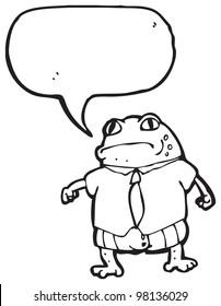 cartoon toad boss with speech bubble