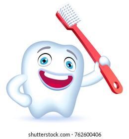 Cartoon Tooth Character with hand on his hip holding a toothbrush. Raster illustration.