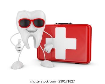 Cartoon tooth and red suitcase with white cross