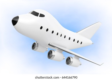 Cartoon Toy Jet Airplane on a blue background. 3d Rendering.