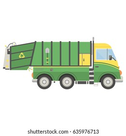 Cartoon transport. Garbage truck illustration. View from side.