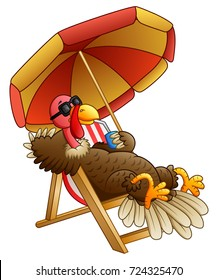 Cartoon turkey bird sitting on beach chair
