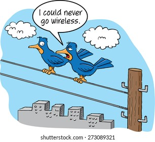 Cartoon of two birds talking on a telephone wire.