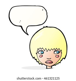 cartoon unhappy girl with speech bubble