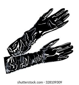 Cartoon vintage woman's gloves. art women