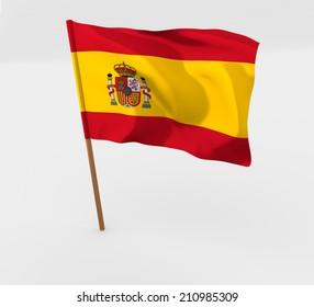 cartoon waving flag in flagpole of spain