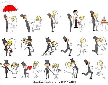 cartoon wedding pictures - Shutterstock ID 83167483