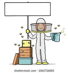 Cartoon woman as a beekeeper holds up a blank banner