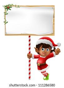 Cartoon woman or girl Christmas elf in Santa Christmas hat holding a sign