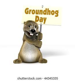 Cartoon Woodchuck holding Groundhog Day Sign