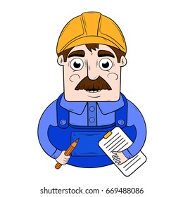 cartoon worker in a hardhat with a folder in his hands. character design
