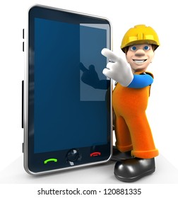 Cartoon worker points to the big phone